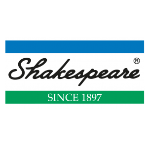 shakespeare blue white and green logo